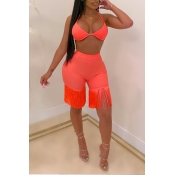 Lovely Chic Tessel Design Orange Two-piece Shorts