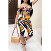 Lovely Chic Knot Design Print Gold Two-piece Short