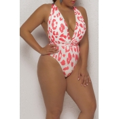 Lovely Print Red Plus Size One-piece Swimsuit