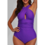 Lovely Basic Purple  Plus Size One-piece Swimsuit