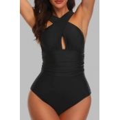Lovely Basic Black  Plus Size One-piece Swimsuit