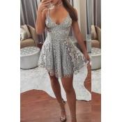 Lovely Sexy V Neck Grey Prom Dress