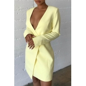 Lovely Work V Neck Light Yellow Mini Dress