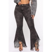 Lovely Casual  Tassel Design Black Jeans