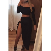 Lovely Casual Knot Design Black Two-piece Skirt Se