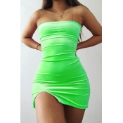 Lovely Chic Dew Shoulder Green Mini Dress