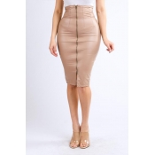 Lovely Sexy Zipper Skinny Taupe PU Skirt
