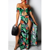 Lovely Bohemian Floral Print Green Maxi Dress