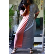 Lovely Casual Color-lump Patchwork Pink Ankle Length Dress