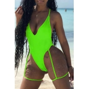 Lovely Hollow-out Green One-piece Swimsuit