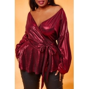 Lovely Luxury Bandage Design Wine Red Plus Size Bl