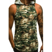 Lovely Casual Camo Print Green Vest