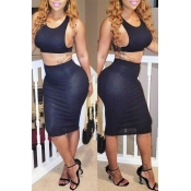 Lovely Chic  Skinny Black Two-piece Skirt Set