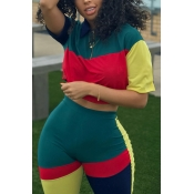 Lovely Casual Patchwork Blackish Green Two-piece