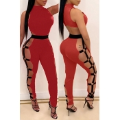 Lovely Casual Hollow-out Red One-piece Jumpsuit