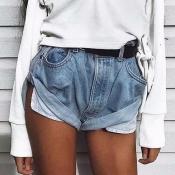 Lovely Trendy Buttons Design Deep Blue Shorts