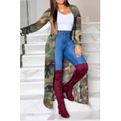 Lovely Leisure Camo Print Army Green Coat