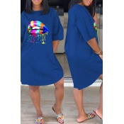 Lovely Casual Lip Print Blue Knee Length Dress