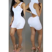Lovely Chic Hollow-out White One-piece Romper