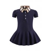 Lovely Sweet Buttons Design Dark Blue Girl Mini Dr