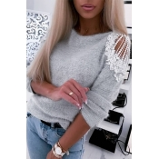 Lovely Sweet  Patchwork Grey Sweater