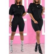 Lovely Trendy Basic Black Two-piece Shorts Set