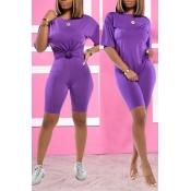 Lovely Trendy Basic Purple Two-piece Shorts Set