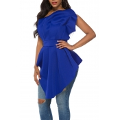 Lovely Casual One Shoulder Blue Blouse