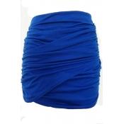 Lovely Trendy Ruffle Design Blue Skirt