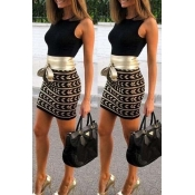 Lovely Casual Patchwork  Black Mini Dress