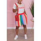 Lovely Casual Rainbow Striped Watermelon Red Two-p