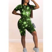 Lovely Casual Starry Sky Print Green Two-piece Sho