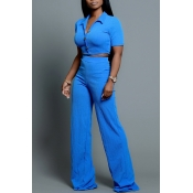 Lovely Leisure Buttons Design Blue Two-piece Pants