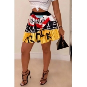 Lovely Stylish Print Yellow Skirt