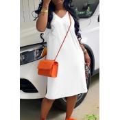 Lovely Casual Basic White Knee Length Dress