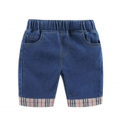 Lovely Casual Patchwork Deep Blue Boy Shorts