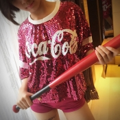 Lovely Leisure Sequined Rose Red T-shirt