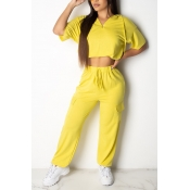 Lovely Leisure Lace-up Yellow Two-piece Pants Set