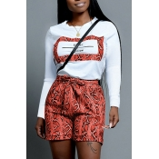 Lovely Casual Snakeskin Print Jacinth Two-piece Sh