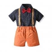 Lovely Casual Print Orange Boy Two-piece Shorts Se