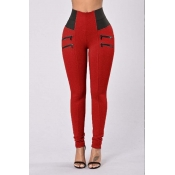 Lovely Leisure Zipper Design Red Pants