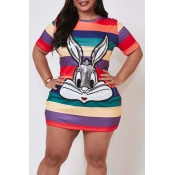 Lovely Sweet Striped Multicolor Mini Plus Size Dre