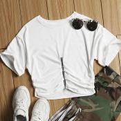 Lovely Leisure Zipper Design White T-shirt