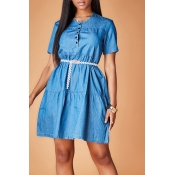 Lovely Casual Button Blue Mini Dress