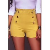 Lovely Trendy Buttons Design Yellow Shorts