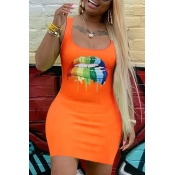 Lovely Casual Lip Print Orange Mini Dress
