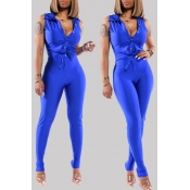 Lovely Casual Buttons Design Blue Two-piece Pants