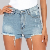 Lovely Casual Buttons Design Baby Blue Shorts