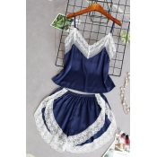 Lovely Sexy Lace Patchwork Navy Blue Sleepwear