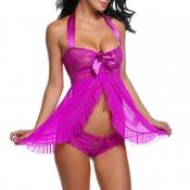 Lovely Sexy Lace Flounce Design Purple Babydolls